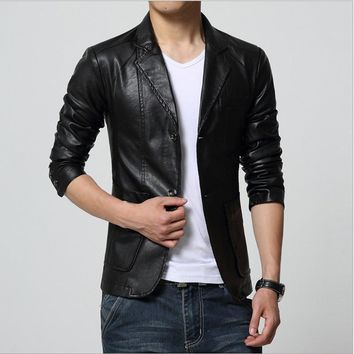 Plus Size M-7XL Spring Men Washing PU Leather Motorcycle Jackets for Male Coat Color Khaki / Brown / Black / White /Red