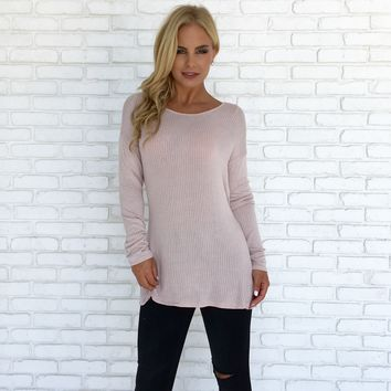 Open Mind Sweater Top in Pale Pink