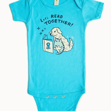 Let's Read Together Organic Baby Onesuit (Turquoise Blue)
