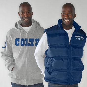 Indianapolis Colts Astroturf Vest & Full Zip Hoodie Jacket Combo - Ash/Royal Blue