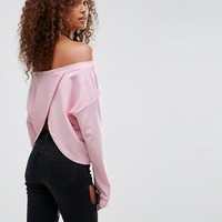 ASOS Sweatshirt in Off Shoulder and Wrap Back at asos.com