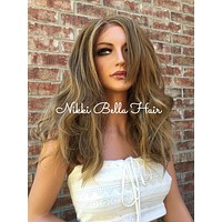 Giselle Dirty Blonde  Human Hair Blend Multi Parting Lace Front Wig 14""