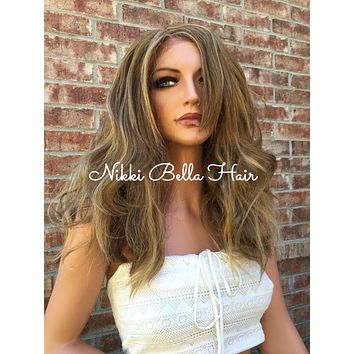 """Giselle Dirty Blonde  Human Hair Blend Multi Parting Lace Front Wig 14"""""""