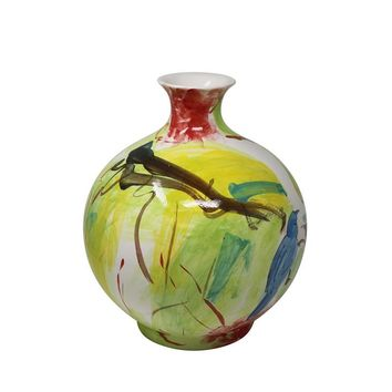 Artistically Designed Decorative Ceramic Vase, Multicolor - SageBrook Home
