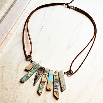 Handmade Aqua Terra Leather Cord Necklace