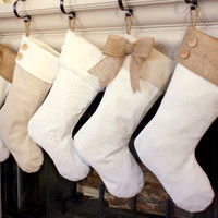 CHOOSE FOUR (4) Christmas Stockings with Burlap Accents - The Madison Collection - Burlap Christmas