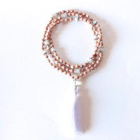 Sacral Chakra Mala - 108 Hand-Knotted Rosewood Beads with, Moonstones, Clear Quartz, and Silk Tassel