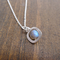 small open square necklace with labradorite