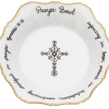 "White and Gold Prayer Bowl, 8"" x 1 1/2"""