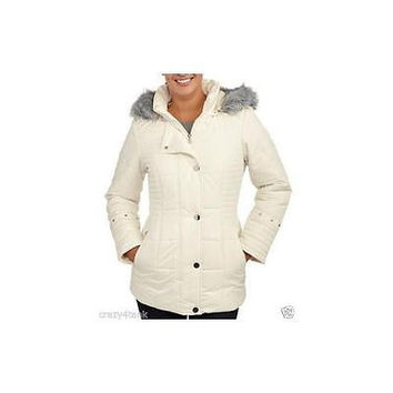 Women's Puffer Coat With Fur-Trimmed Hood And Fur-Lined Pockets, Large, Antique