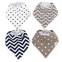 Baby Bandana Drool Bibs by Baby Bee (Set of 4, Gift Set) with 2 snap-buttons latch