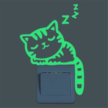 Luminous Stickers Sleepy Cat/Star Moon Glow in the Dark DIY Switch Sticker home decor for Kid Room Fluorescent Sticker poster