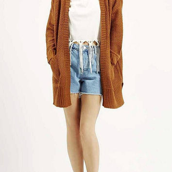 Brown Slouchy Chunky Knit Cardigan