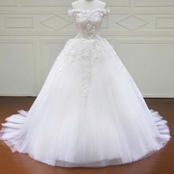 Lace Wedding Dress Sleeveless Bride Dresses Ball Gown Off the Shoulder
