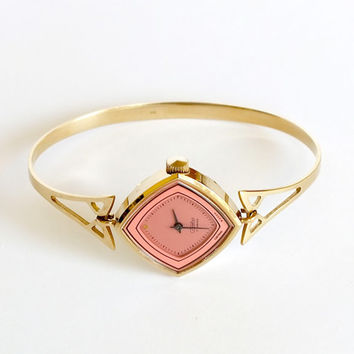 RESERVED Rare Womens Watch Slava (Glory). Pink Dial, Gold Plated Watch Bracelet For Women. Vintage Ladies Watch 80s. Gift for her