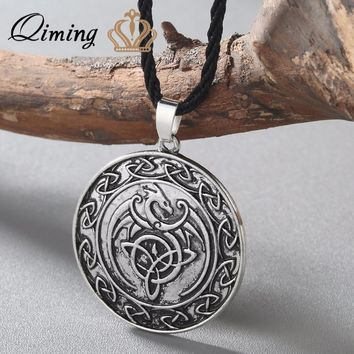 QIMING Valknut Double Side Viking Slavic talisman Knot Celtic Dragon Pendant Necklace Talisman Charm Vintage Men Necklace