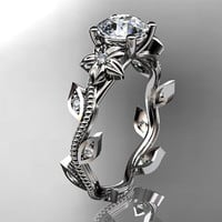 14kt white gold diamond leaf and vine wedding ring,engagement ring. ADLR151. nature inspired jewelry