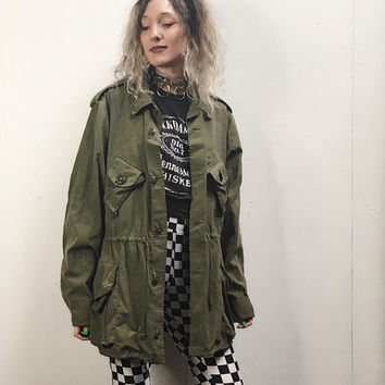 Canadian Forces Olive Army Green Jacket - Field Jacket - Oversized Slouchy - Military Combat Jacket - Lightweight Army Coat - Drawstring