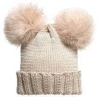 Beige Knitted Hat with Fur Pom Poms