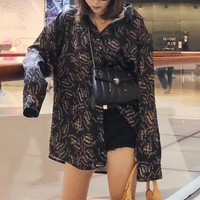 """Dior"" Women Casual Fashion Letter Print Long Sleeve Cardigan Lapel Silk Shirt Tops"