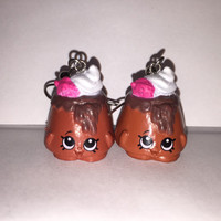 Shopkins Foodie Earrings - Choco Lava - repurposed toys