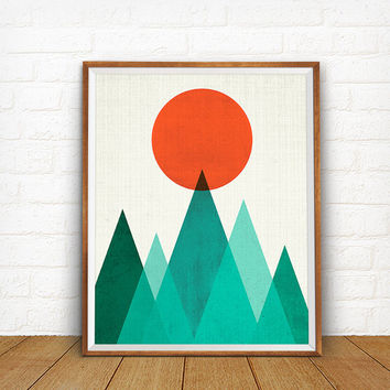 Geometric Mountain print, Geometric Art, Geometric Scenery, Beach House Print.