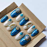 3D nails, handpainted nails, turquoise nails, foil nails, feather nails, boho, summer nails, ethnic nails, gel press on nails, gel nails