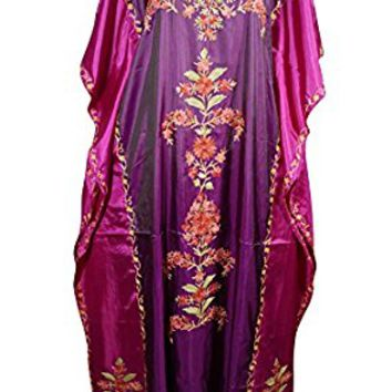 Mogul Womens Caftan Maxi Dresses Stylish Cruise Silk Kashmiri Embroidered Dual Shaded Holiday Fashion (Purple, Pink)