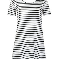 Monochrome Stripe Mini Shift Dress