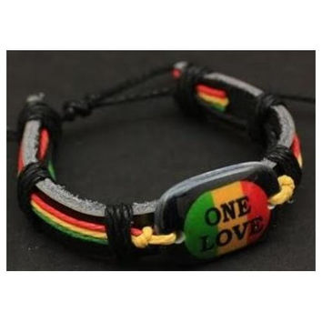 "Faux Leather bracelet Rasta color ""ONE LOVE"""