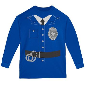 Halloween Policeman Costume Youth Long Sleeve T Shirt