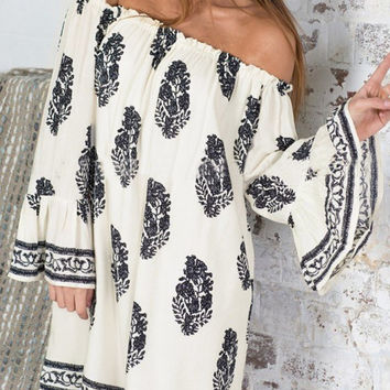 Floral Print Bell-sleeved Off Shoulder Dress