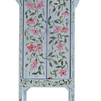 Vintage Wardrobe Dollhouse Miniature Hand Painted Furniture Armoire Bedroom Kitchen Study Library Cabinet Piece Ladybug Lady Bug Design Gift
