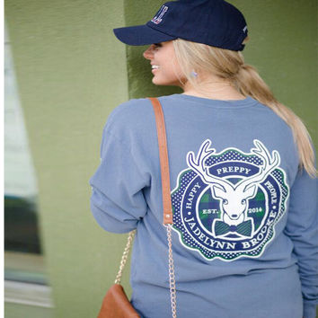 Long Sleeve Winter Christmas Deer Round-neck Sweatshirt [9475977348]