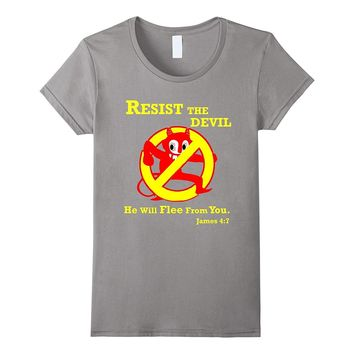 Resist the Devil Bible Verse Funny Christian T Shirt YVB