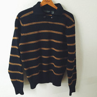Vintage, Calvin Klein, Wool Sweater, Black, Brown, Striped, Menswear, Unisex Sweater, Mens Size Medium, Womens Size Small