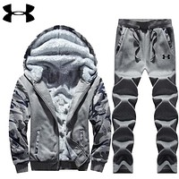 """""""Under Armour"""" PRINT HOODIE THICK KEEP WARM TOP AND PANTS TWO PIECE SUIT Dark grey"""
