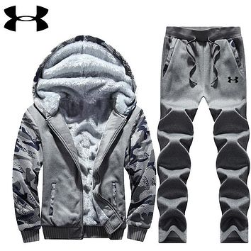 """Under Armour"" PRINT HOODIE THICK KEEP WARM TOP AND PANTS TWO PIECE SUIT Dark grey"
