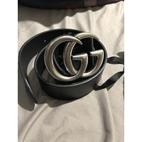 New Black and Silver Gucci GG Buckle Belt Size 95 cm Waist