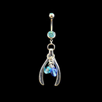 Wish Bone Belly Ring with Blue Beads and Blue Rhinestone Body Jewelry