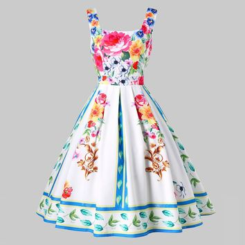 Kenancy Vintage Square Neck Floral Pin Up Dress Oil Paint Print Romantic French Party Feminino Vestidos Summer White Swing Dress