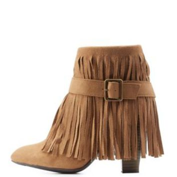 Camel Chunky Heel Belted Fringe Booties by Qupid at Charlotte Russe