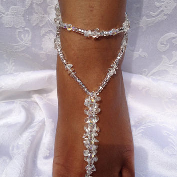 1 PAIR- Bridal Jewelry Beach Sandal Barefoot Sandals Beach Wedding Crystal Destination Wedding Swarovski Foot Jewelry Anklet