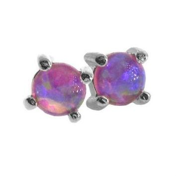 SILVER .925 created PINK OPAL stone 4mm STUD EARRINGS