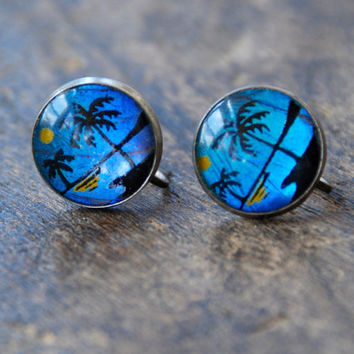 Vintage Butterfly Wing Screw Back Earrings Hand Painted Tropical Scene Sterling Silver Blue Morpho Butterfly Retro 1940's // Vintage Jewelry