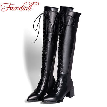 fashion lace-up pointed toe high heels platform women knee high boots 2016 new autumn shoes woman  long boots women riding boots