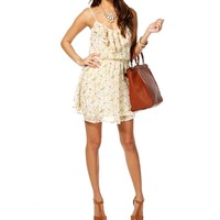 Ivory Floral Ruffle Tunic