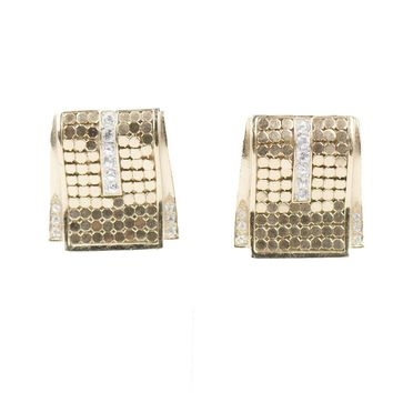 Gold Mesh & Rhinestone Pierced Earrings by Whiting & Davis
