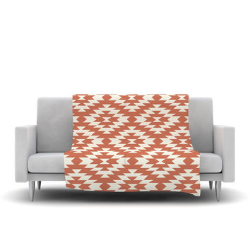 "Amanda Lane ""Southwestern Toasted Coral"" Red Tribal Fleece Throw Blanket"