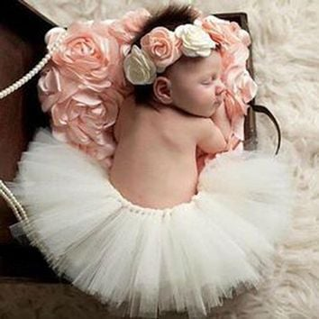 Newest Newborn Photography Props Infant Costume Outfit Princess Baby Bubble Skirt Headband Baby Photography Prop